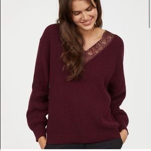 H&M V neck Lace detail Sweater